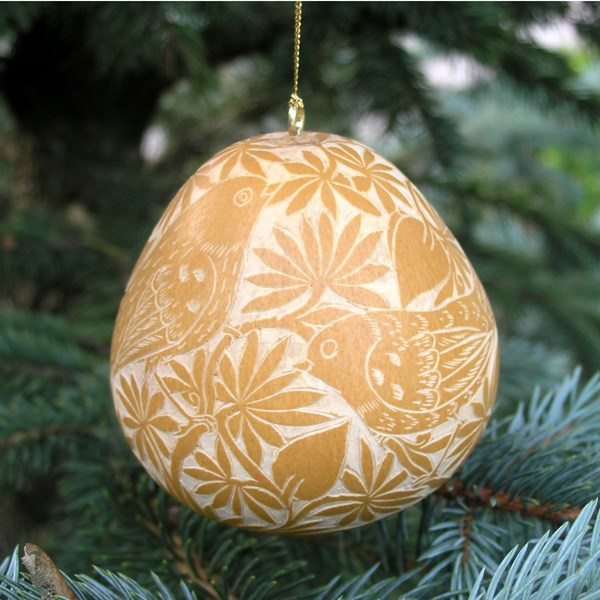 Hand Carved Gourd Ornament - Gold with Birds