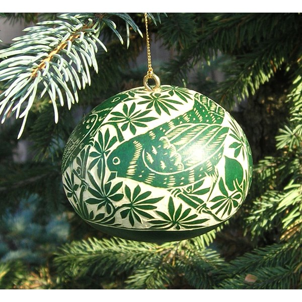 Hand Carved Gourd Ornament - Green with Birds