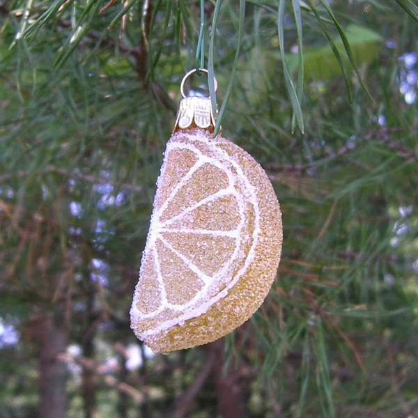 Hand-Blown Glass Lemon Wedge Ornament