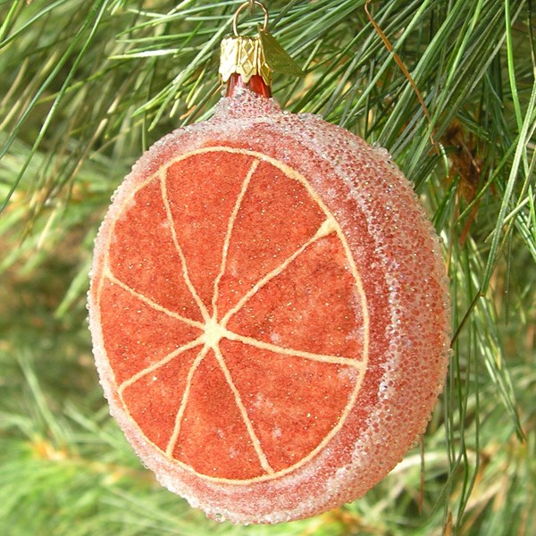 Frosted Grapefruit Glass Ornament
