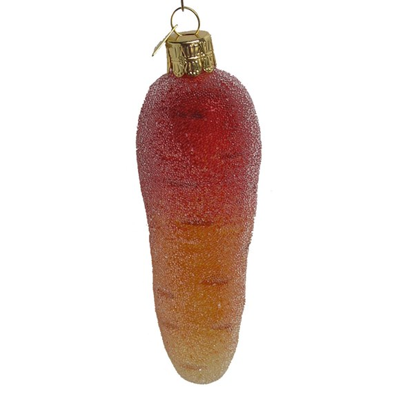Frosted Carrot Hand-Blown Glass Ornament