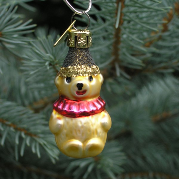 Miniature Bear Ornament - Hand-Blown Glass