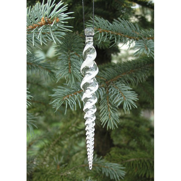 White Icicle Glass Ornament