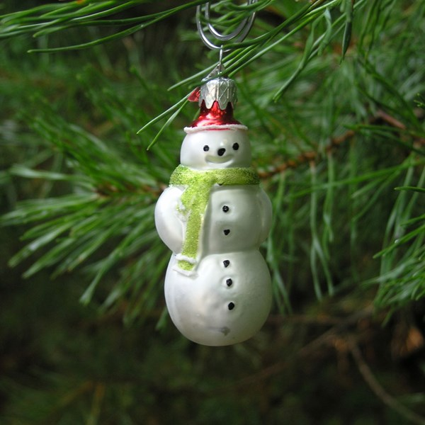 Miniature Snowman Ornament with Green Scarf - Hand-blown Glass