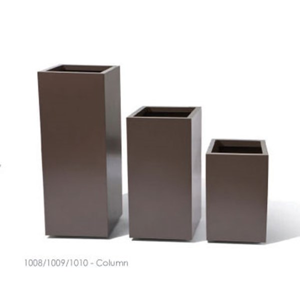 Column - tall square metal planters