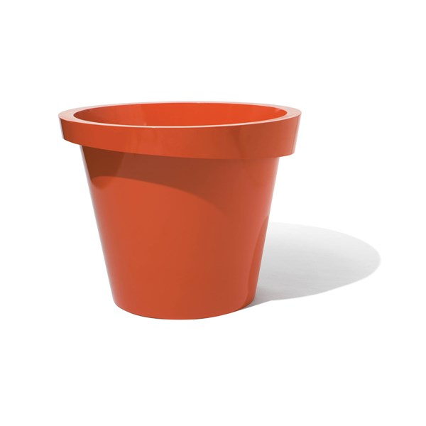 Askew round metal planter - Red