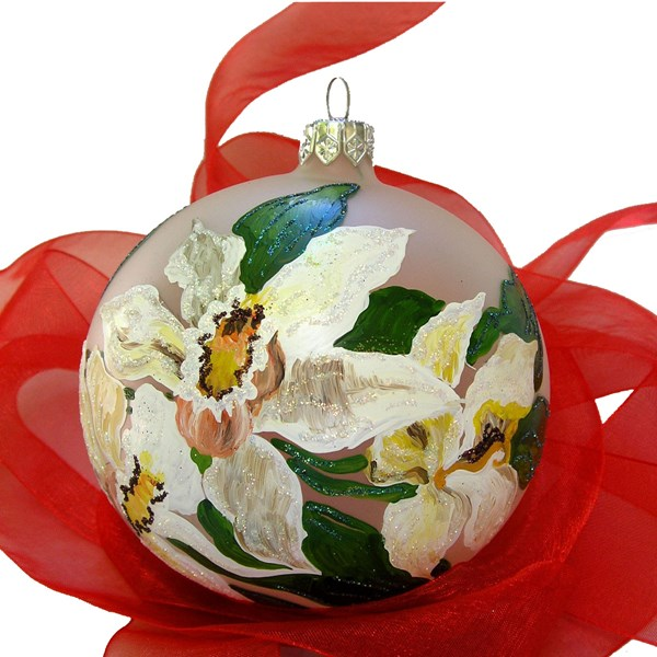 Orchid Ball Ornament - Hand-Blown Glass