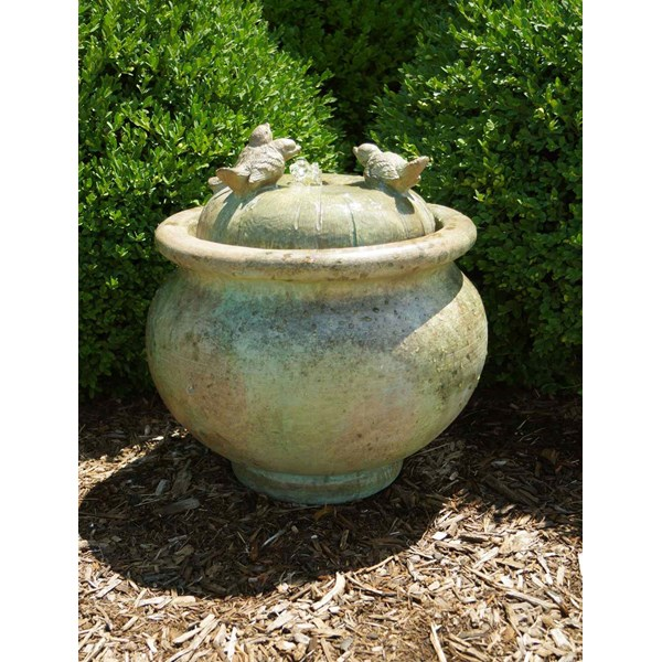 Birds Patio Bubbler Fountain - Shown in Relic Nebbia