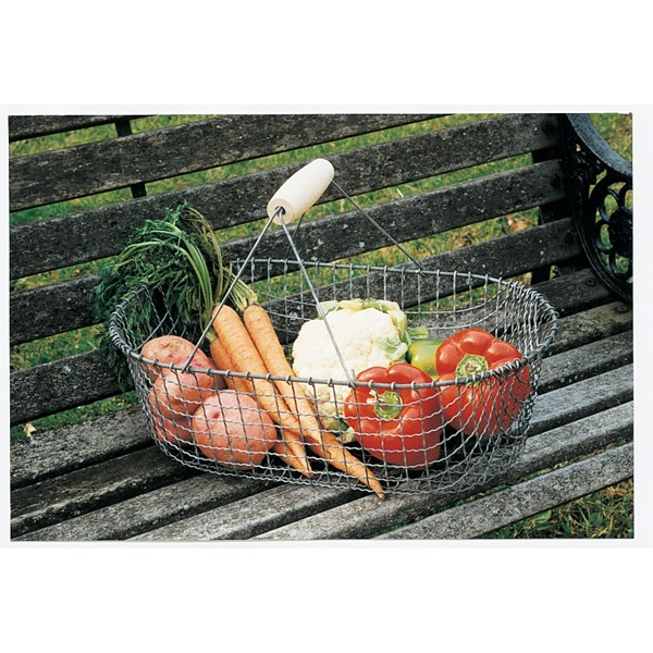 Wire Vegetable Basket with Wooden Handle