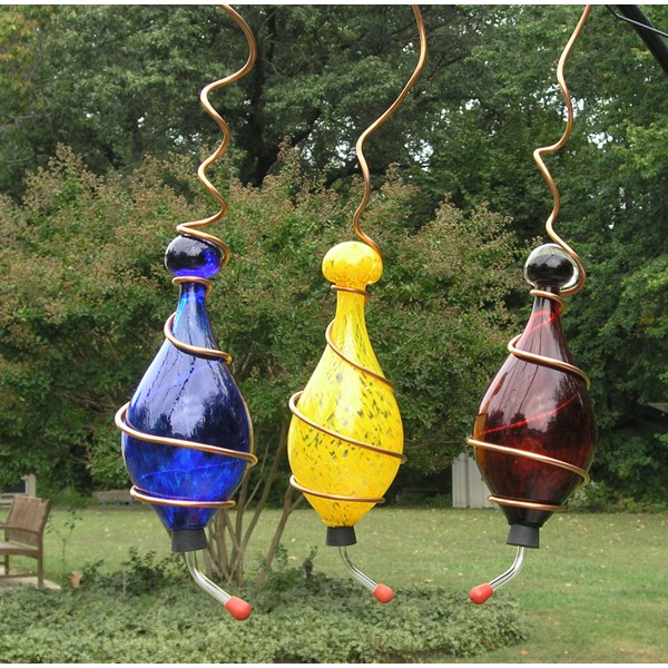 Hummingbird Feeders - Set of 3 - Handblown Glass