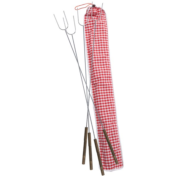 Set of 4 Stainless Steel Hotdog Roasting Forks in Gingham Bag