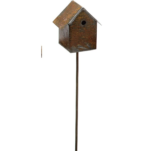Miniature Metal Birdhouse Pick
