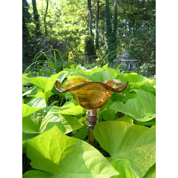 Copper Hand-blown Glass Butterfly Feeder