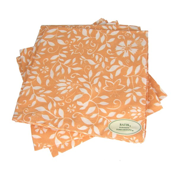 "Coral Batik, Double-Sided 18"" Cloth Napkins"