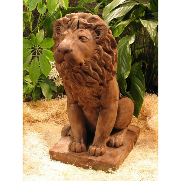Male Lion statue - Dark Walnut