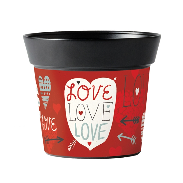 "Love 6"" Metal Art Pot"