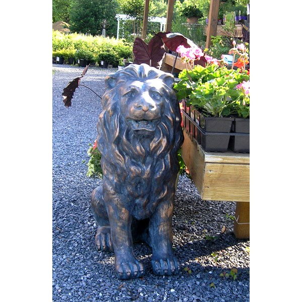 Cast Stone Sitting Lion - Bronze finish