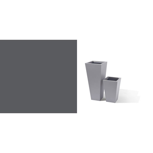Taper - tall tapered square metal planter - Zinc Oxide