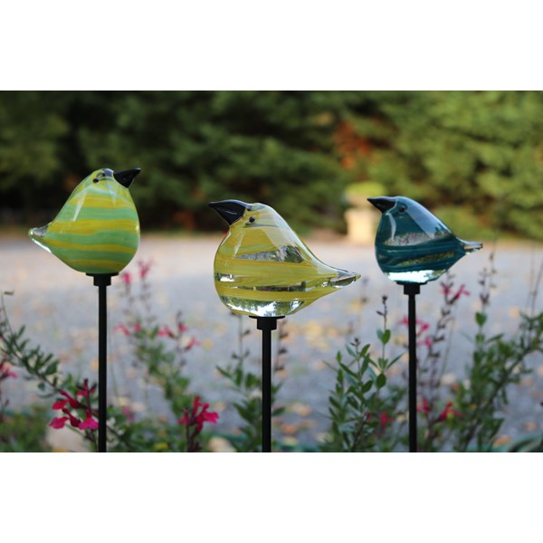 Glass Bird Garden Stakes