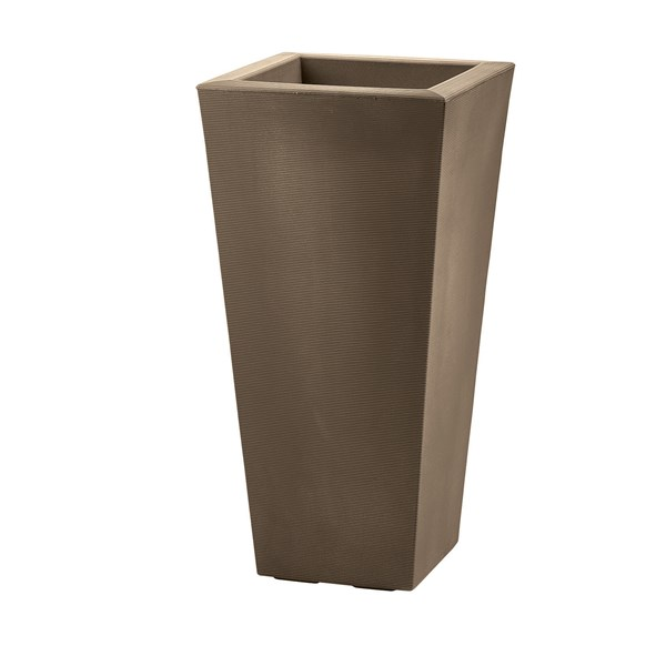 Bowery - tall square resin planter - Mocha