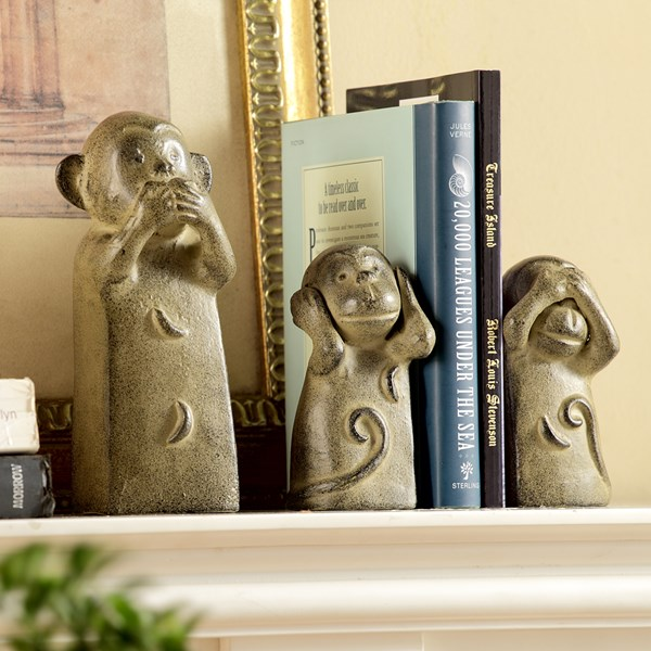 Three Wise Monkeys Book Ends