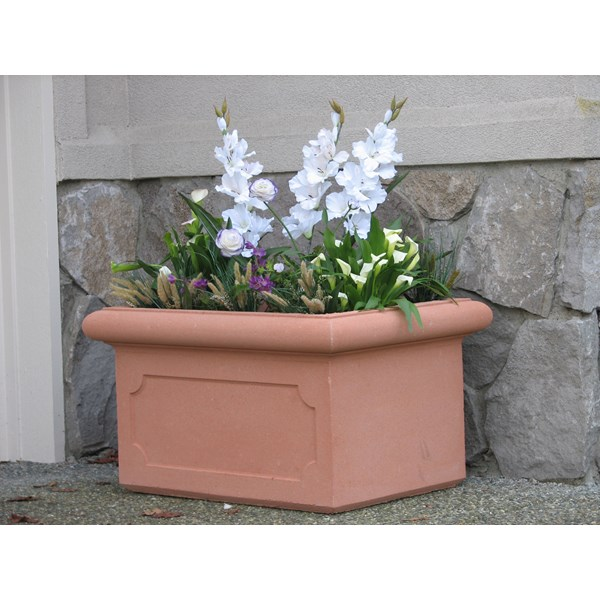 Chelsea Trough with Panels - cast stone trough planter - Terracotta
