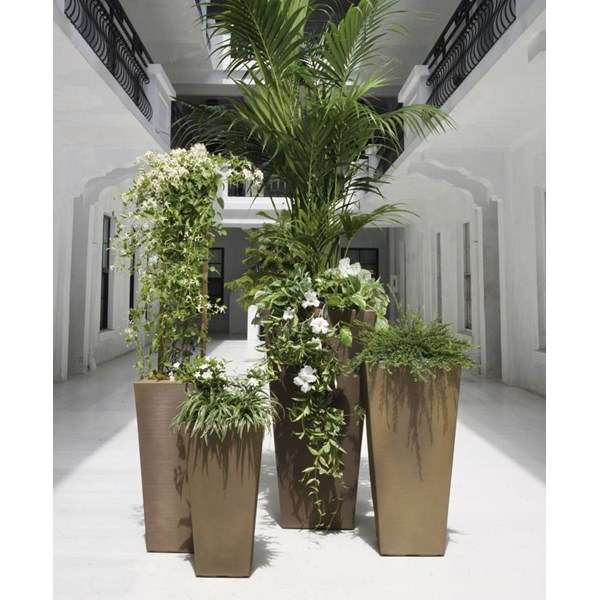 Crescent Bowery - tall square planters - Mocha