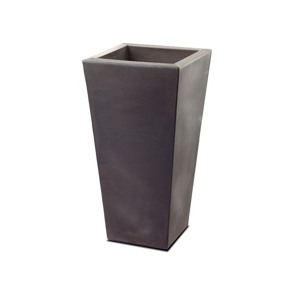 Bowery - tall square resin planter - Old Bronze
