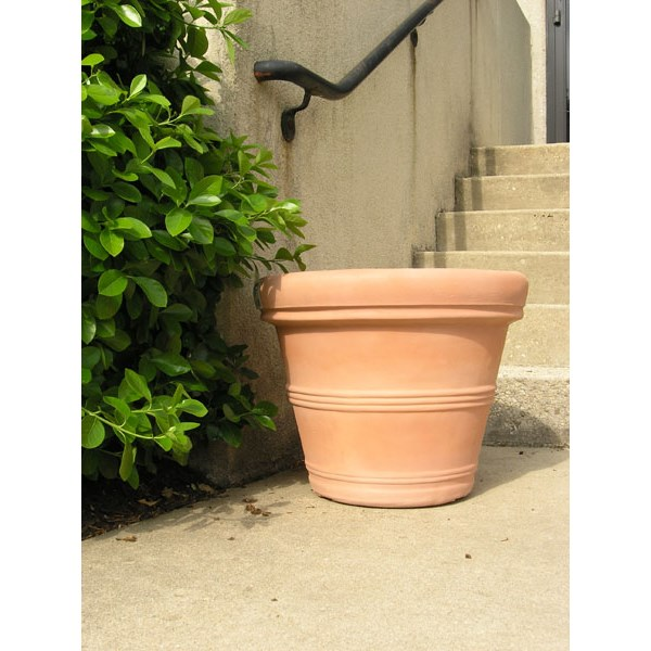 "Brunello 27"" rolled rim resin planter in Weathered Terracotta"