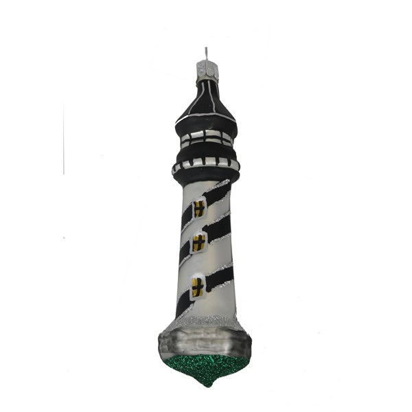 Lighthouse Ornament - Hand-Blown Glass