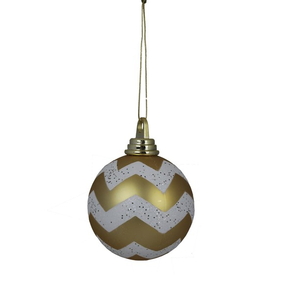 Gold & White Chevron Shatterproof Ball Ornament