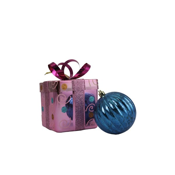 Pink Gift Box & Blue Ball Ornament - Shatterproof