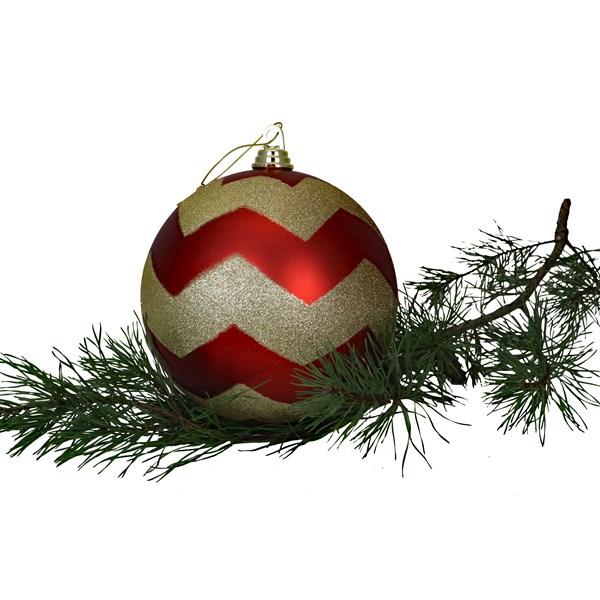 Red & Gold Chevron Shatterproof Ornament