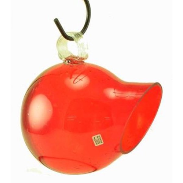 Seed Drop Glass Bird Feeder - Red