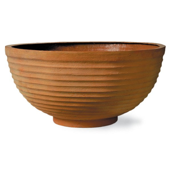 Thames Bowl fiberglass planter - Weathered Terracotta