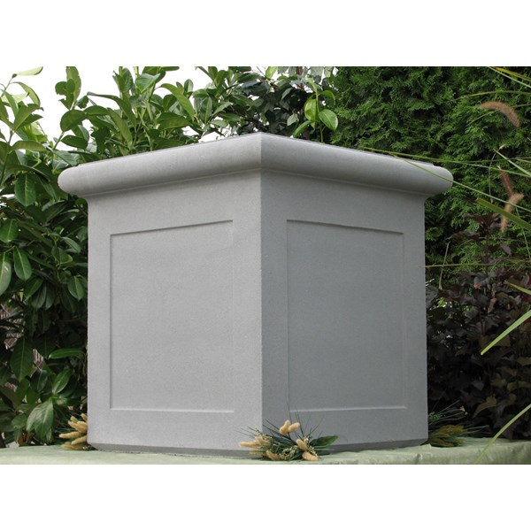 Chelsea Box with Panels - cast stone square planter - Pewter