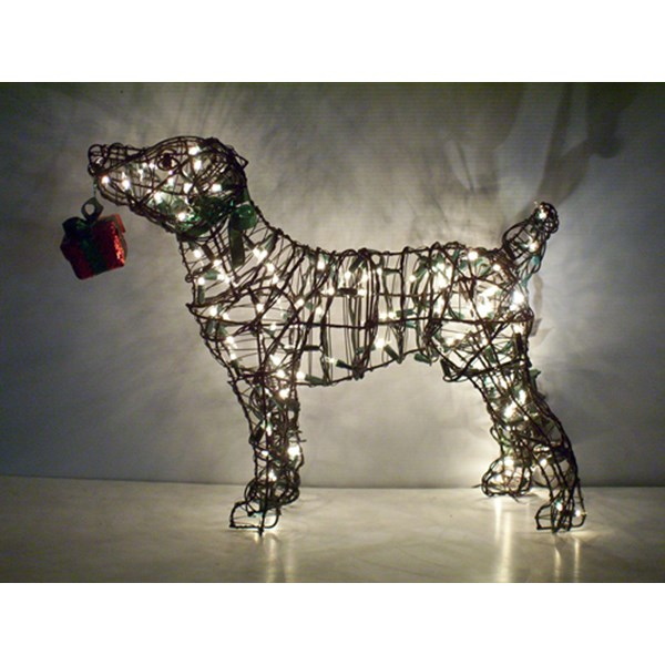 Jack Russell Terrier Topiary with Lights
