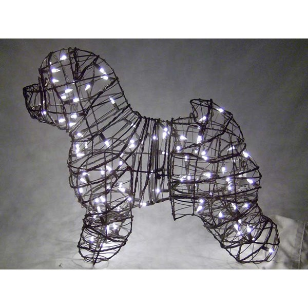 Bichon Frise Topiary with Lights