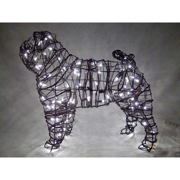 Pug Topiary with Lights